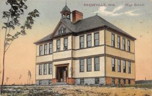 Reeseville Wisconsin~Brand New High School w/Baby Trees~Belfry Postcard 1911
