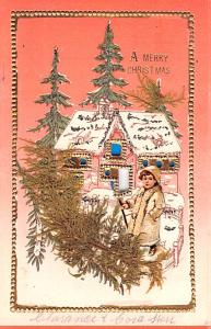 A Merry Christmas  Hold to light, Girl Cut out and tree brush, attached to ca...