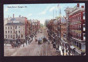 P1545 1914 unused postcard horse wagon trollies cars st. signs etc bangor maine