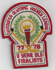 WINNIPEG, Manitoba, 1977-78; Olympic Hockey League, 9 Year Old Finalist, Patch