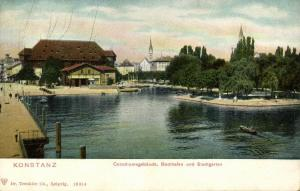 germany, KONSTANZ, Conciliumsgebäude, Boothafen und Stadtgarten (1899)