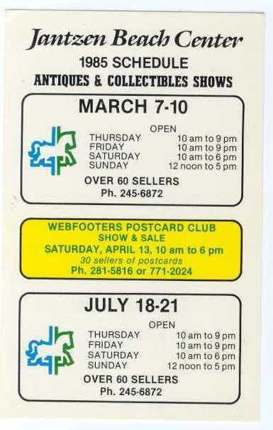 Jantzen Beach Center Webfooter Postcard Club Show, Portland