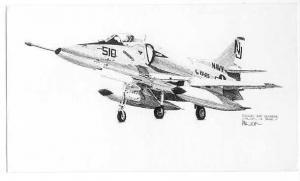 Drawing of Douglas A4D Skyhawk Copyright by Cloe Milich 1978