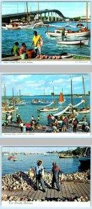 3 Postcards NASSAU, BAHAMAS ~ Bridge to PARADISE ISLAND, Sloops, Fishermen 4x6