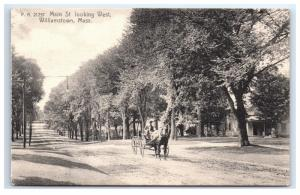 Postcard Main Street looking West, Williamstown, MA horse carriage B4