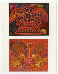 2 Cards of Mola Designs on Female Blouses Indian Cuna Tribe, Panama