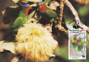 Blue Crowned Lorikeet Niuafoou Tonga Bird WWF Stamp FDC Postcard