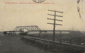 WARSAW, Indiana, PU-1912; Inter-Urban Crossing over PENN. Railroad