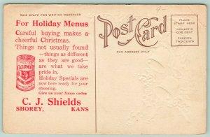 Shorey Kansas~CJ Shields Grocery Store Christmas Advertising~Calumet~c1910 PC