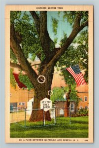 Geneva NY-New York, Scythe Tree Farm, Linen Postcard