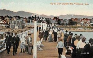 On the Pier ENGLISH BAY Vancouver, BC Boardwalk c1910s Vintage Postcard