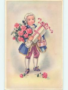 Unused 1940's foreign BOY HOLDING WRAPPED GIFT & BASKET & ROSE FLOWERS o9639
