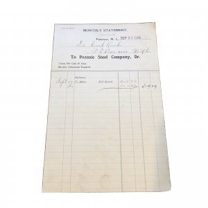 1905 PASSAIC STEEL COMPANY - Invoice Galvanized Steel - PATERSON NJ