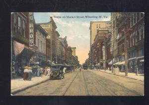WHEELING WEST VIRGINIA DOWNTOWN MARKET STREET SCENE VINTAGE POSTCARD
