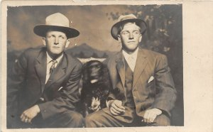 F79/ Interesting Real Photo RPPC Postcard c1910 Well-Dressed Men Dog 7