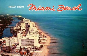 Florida Miami Beach Aerial View Ocean Front Hotels 1965