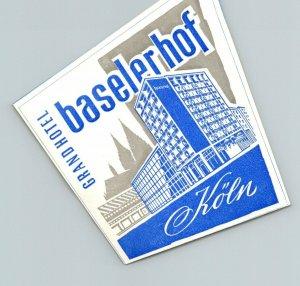 Germany Koeln Grand Hotel Baselerhof Vintage Luggage Label sk4842