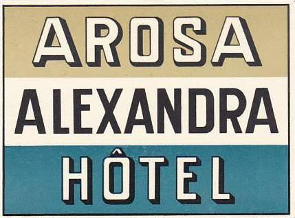 SCHWEIZ AROSA ALEXANDRA HOTEL SMALL VINTAGE LUGGAGE LABEL