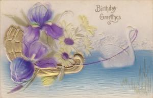 Embossed Birthday Greetings White Swan Pulling Gondola Of Flowers