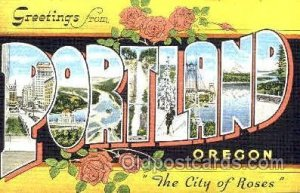 Portland, OR, USA Large Letter Town Unused light yellowing on back from age