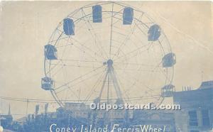 Amusement Park Postcard Post Card Ferris Wheel Coney Island, New York, NY, US...