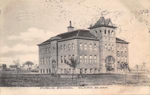 Clark South Dakota~Public School~Homes & Barns in Field~1907 Postcard