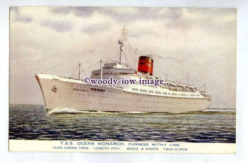 pf7132 - Furness Withy Liner - Ocean Monarch , built 1951 postcard art Nicholson