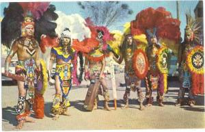 Aztec Indians on Street,Gallup, New Mexico, NM, Intertribal Ceremonial, Chrome