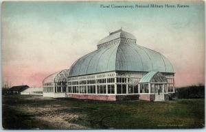 NATIONAL MILITARY HOME Kansas Postcard Floral Conservatory Hand-Colored c1910s