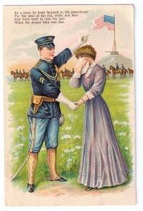 Patriotic Soldier Woman Romance Military Postcard 1910