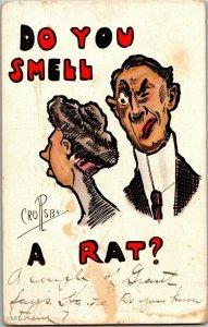 Woman with Pompadour, Man Do You Smell a Rat c1911 Crosby Vintage Postcard A31