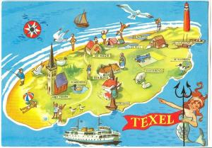 Holland, Netherlands, Texel, Cartoon Map, 1982 used Postcard