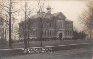 Mendon Michigan~Public School Building~2 Men by Arched Doorway~Vintage RPPC