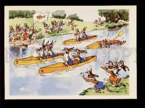 075838 Dressed RABBITS Bunny in BOATS Sport old Colorful PC