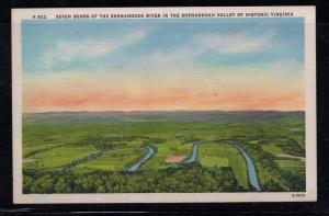 Virginia colour postcard 7 Bends of the Shenandoah River unused