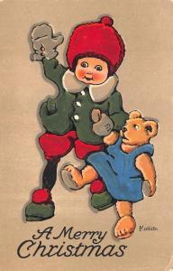 A Merry Christmas Artist Signed Ekalish Teddy Bear 1919 Postcard
