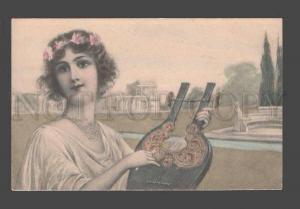 086411 Greece GREEK Beauty Girl w/ LYRE Harp Vintage VIENNE