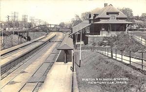 Newtonville MA B&A Railroad Station Train Depot RPPC Real Photo Postcard