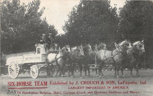 F60/ Lafayette Indiana Postcard c1910 Crouch Six Horse Delivery Wagon