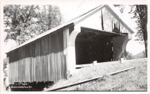 D74/ Dummerston Vermont VT Real Photo RPPC Postcard Covered Bridge c1950s  5