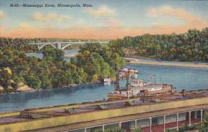 Minnesota Minneapolis Scene Along Mississippi River Curteich