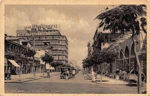 Egypt Port-Said - The Boulevard Eugenie, auto, cars, Cafe Bar Hotel Drink