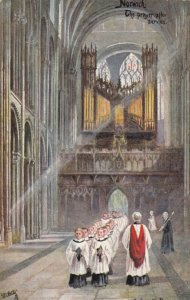 NORWICH, England, 1900-10s; Cathedral, the prayer after service, AS; Payne, TUCK
