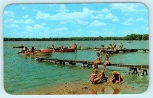 FISHER LAKE, Michigan ~ CLAUSEN'S SHADY REST RESORT Beach Scene 1960s Postcard