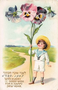 Rosh Hashannah 1908, With Every Good Wish for a Happy New Year, Postcard, Used