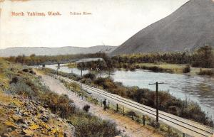 North Yakima Washington~Railroad Tracks Along River~Thru Truss Bridge~1909 PC
