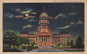 Illinois Springfield State Capitol At Night