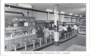 HUNTSVILLE, ONT, Canada   McDONALD'S RESTAURANT  Lunch Counter  c1940s  Postcard