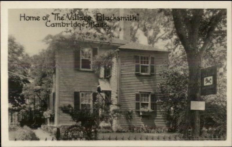 Cambridge MA Home of Village Blacksmith Real Photo Postcard