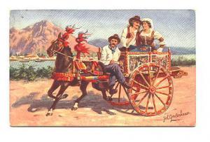 Signed Georg Johan Gerstenhauer-Zimmerman, Fancy Horse Cart, Costumes